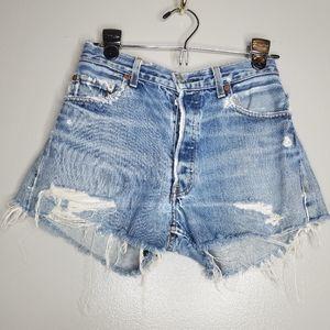 Vintage Levi's 501 Destroyed Jean Shorts Size 25